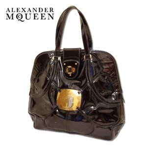 Alexander McQueen Clover Black Patent Leather Bag
